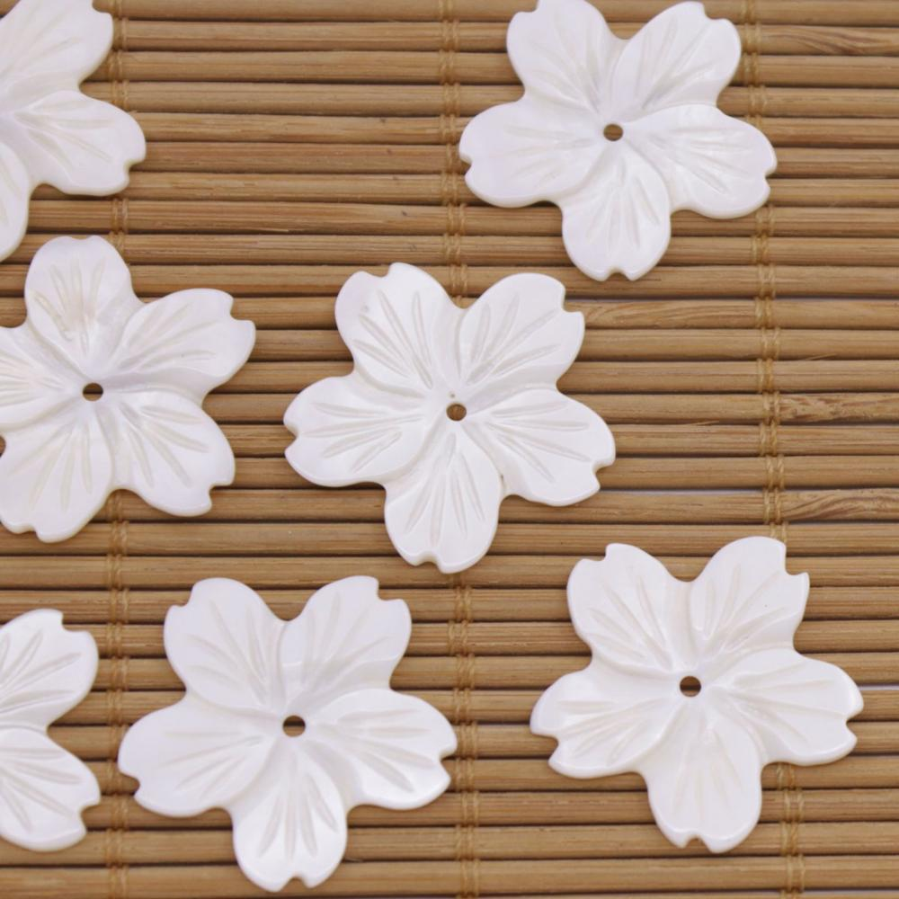 Купить с кэшбэком 7 PCS Shell Natural White Mother of Pearl Jewelry Making 24mm 5petal