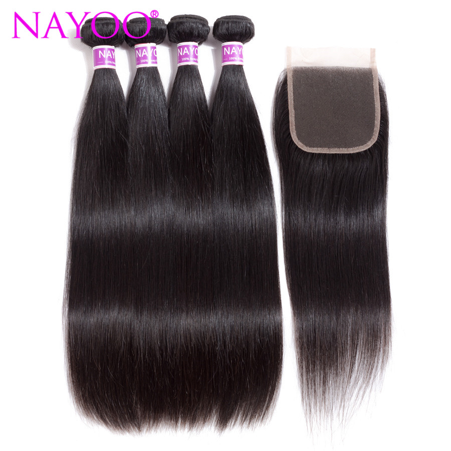 NAYOO Indian Remy Straight Human Hair 4 Bundles Weaving With 4x4 Free Part Lace Closure Indian Hair Closure With Bundles