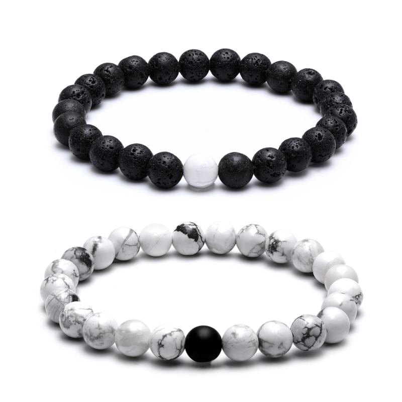 TANGYIN Charm Couple Bracelet 8mm Black White Natural Lava Stones Beads Beaded Bracelets Bangles For Men Women Jewelry Pulseras