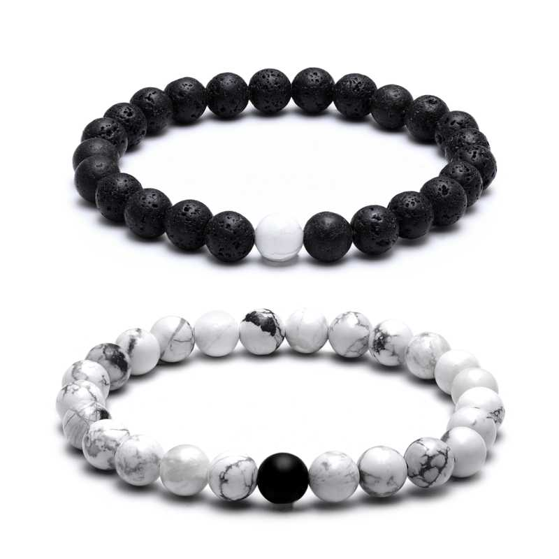 TANGYIN Charm Couple Bracelet 8mm Black White Natural Lava Stones Beads Beaded Bracelets Bangles For Men Women Jewelry Pulseras