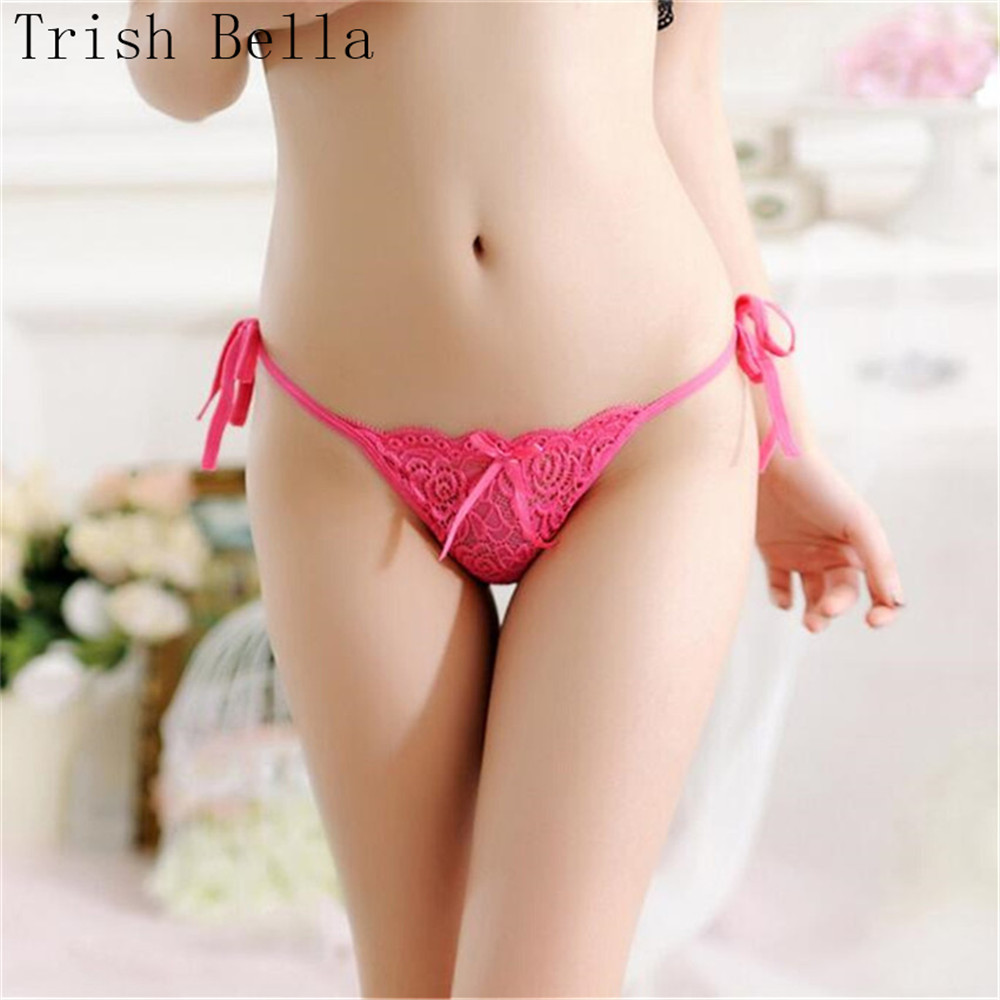 Trish Bella 2018 Lace transparent Bow simple Bandage Mooning plus size sexy lingerie underwear women panties string tanga thong in women 39 s panties from Underwear amp Sleepwears
