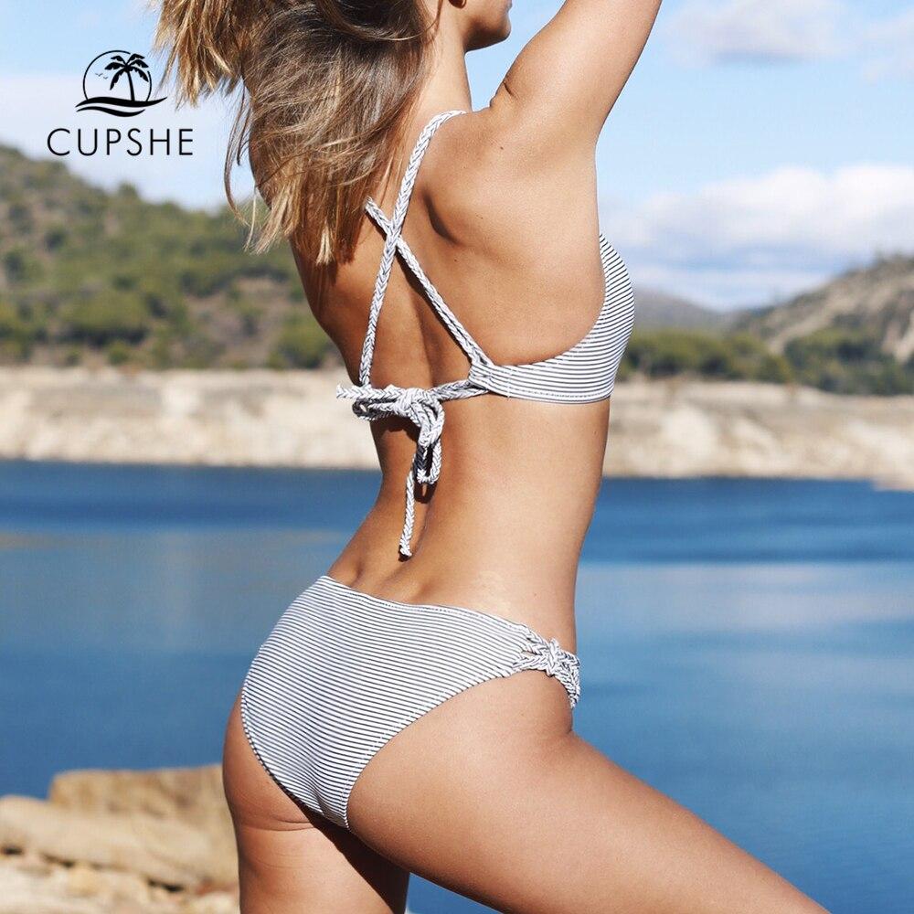 dc67c1964004 CUPSHE Love More Stripe Bikini Set Women Cut Out Cross Halter Padding Thong Bikini  Swimwear 2019