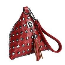 Women's Purse Bags Triangle rivets coin tassel Clutch Small feast purse woman handbag Bag Bag Ladies Leather Bolsos Mujer #3859