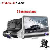 3 Cameras Lens Dash Cam Dash Camera Dual Lens 4 Inch IPS Car DVR With Rearview Camera Video Recorder Auto Registrator Dvrs
