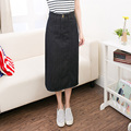 2017 New Womens Summer jeans skirt boyfriend Style Black Slim  Button A-Line Long Denim Skirts jeans  Big Size S-2XL jeans femme