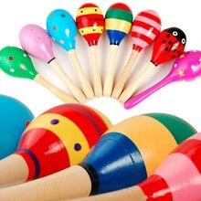 Bunte Kinder Holz Ball Rassel Spielzeug Sand Hammer Rassel Lernen Musical Instrument Percussion für Baby 0-12 Monate