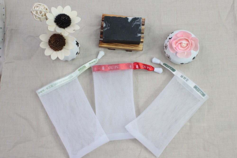 MOQ 10000pcs/set  Can  Make  Logo  Ribbon Good Quality Double Layer Handmade Soap  Net   Mesh Bag  For Foaming ,essential Tool