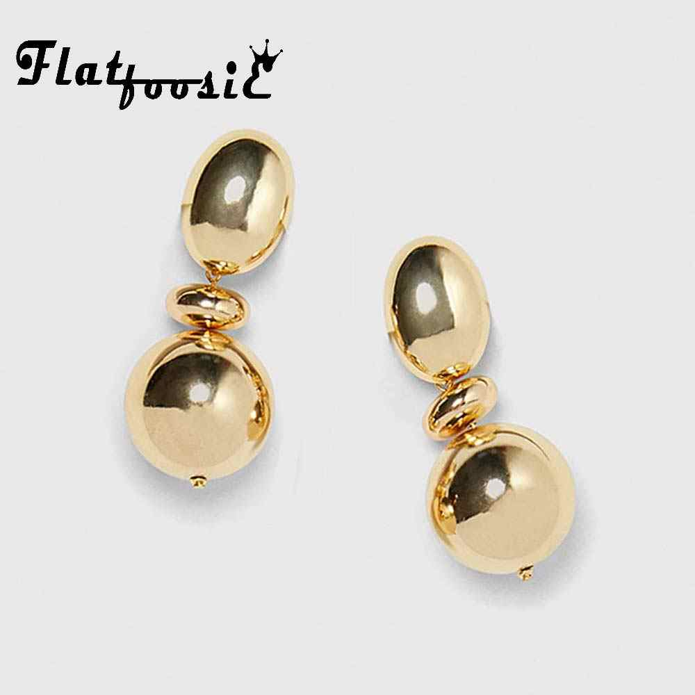 Flatfoosie Simple Ball Dangle Earrings Gold Color Round Oval 2018 Brand New Female Jewelry For Women Punk Statement Drop Earring