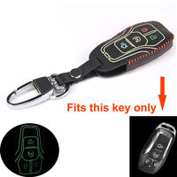 1X For Lincoln Car Smart Remote Key Cover 4 Bottons Leather Key Holder case Trim