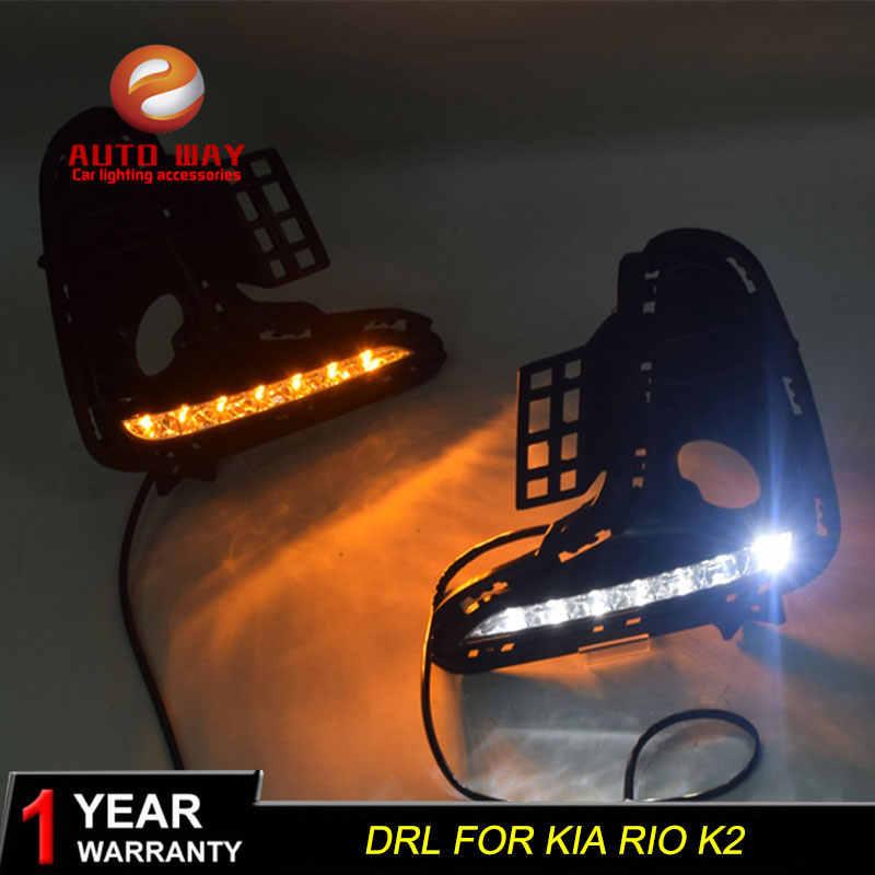 Case Voor Kia Rio K2 2017 2018 Geel Signaal Relais 12V Auto Drl Lamp Waterdicht Abs Led Daytime running Light