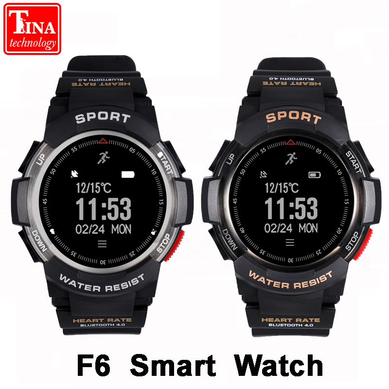 100% Original F6 Smart watch IP68 Waterproof Bluetooth 4.0 Dynamic Heart Rate Monitor Smartwatch For Android IOS Smart Phone original amazfit bip youth edition smart watch gps glonass bluetooth 4 0 heart rate monitor ip68 waterproof android 4 4 ios 8