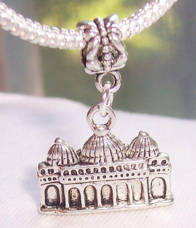 Hot! 10 peças de prata antigo liga Veneza, Itália, Igreja Dangle Bead caber Charm Bracelet 31,5 x 22,5 x 5 milímetros Jóias DIY nm125