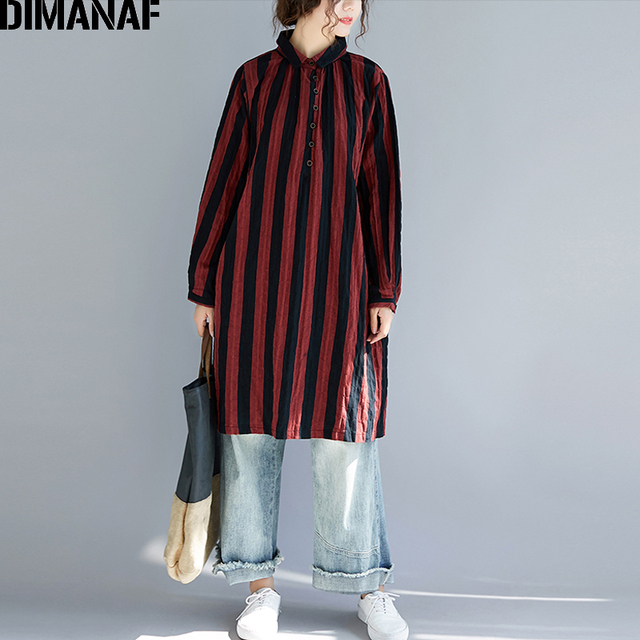 DIMANAF Women Blouse Shirt Linen Autumn Plus Size Female Clothes Lady Tops Vintage Vestidos Long Sleeve Striped Print Loose 2018