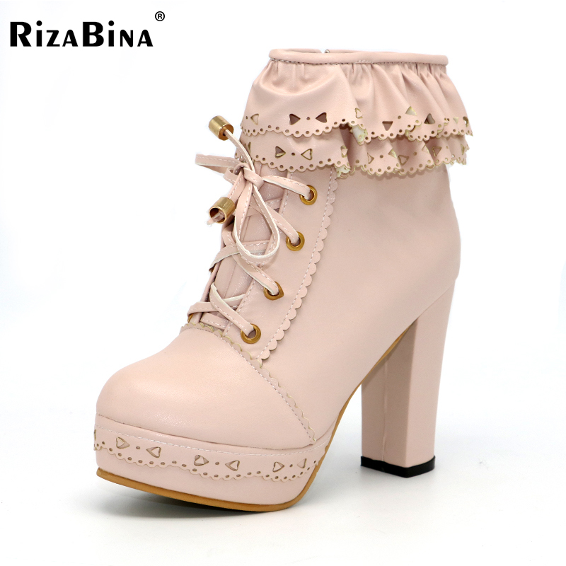 RizaBina  ladies high heel ankle boots women lace half short botas warm boot fashion heels footwear shoes P20450 size 34-43 hot selling ef84 damascus folding blade knife wood handle damascus steel tactical knife outdoor tool hunting camping knife