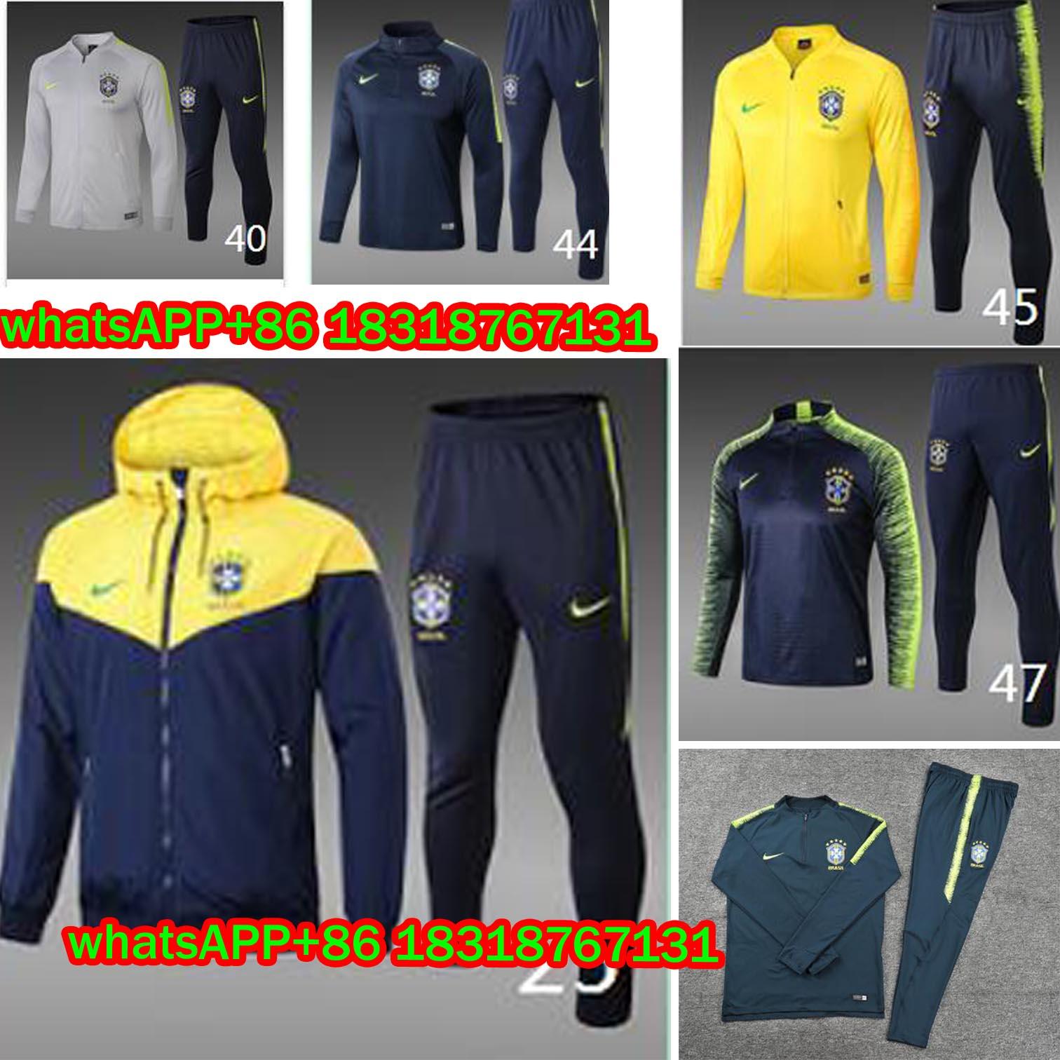 Coaching Put on 2018 2019 Brasil Shirt Set 18 19 Camisetas Camisa Survetement Homem Camisa Da Copa Do Mundo