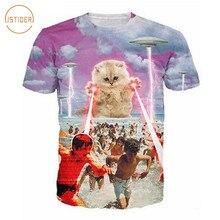 ISTider Kitten Laser Cats Printed Tee Shirt Star War 3D Alnie Cat T-Shirt Space Galaxy T Shirt Women Men Funny 3D Animal Tshirt
