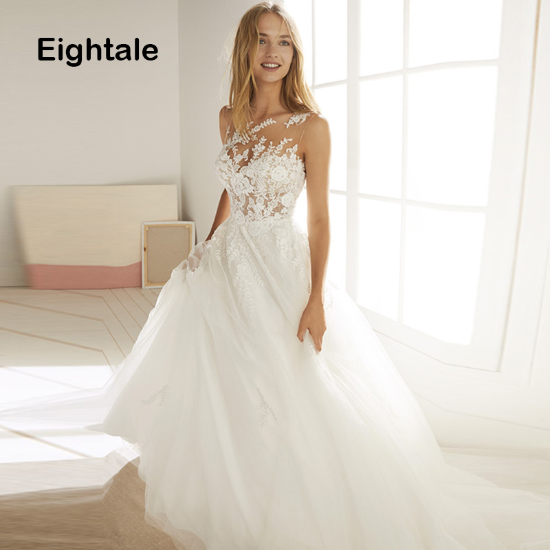 Eightale Romatic Wedding Dress 2019 O-Neck Lace Appliques Tulle See Through Back Princess Boho Wedding Gowns Beach Bridal Dress