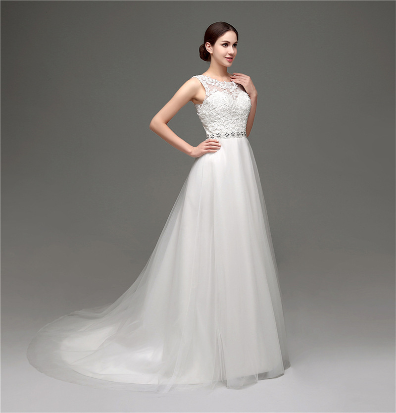 Us 162 3 2018 Elegant Simple Beach Wedding Dress Casual O Neck Chiffon Floor Length Wedding Gowns Bride Dresses Robe In Wedding Dresses From