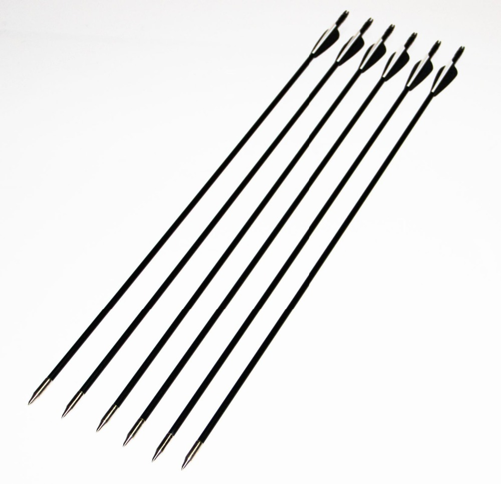 Hunting Shooting Arrow 80cm Spine 400 Black White Target Practice Steel Point Archery Fiberglass Arrows for Hunting Compound Bow magic amazing jumping arrow black white