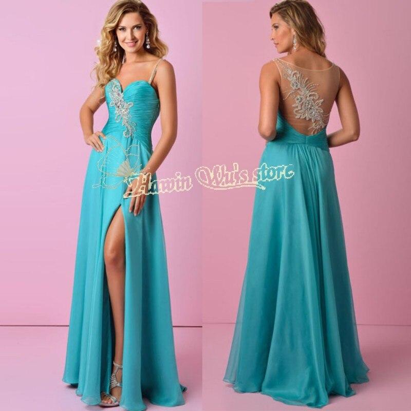 Vestidos largos de noche color turquesa