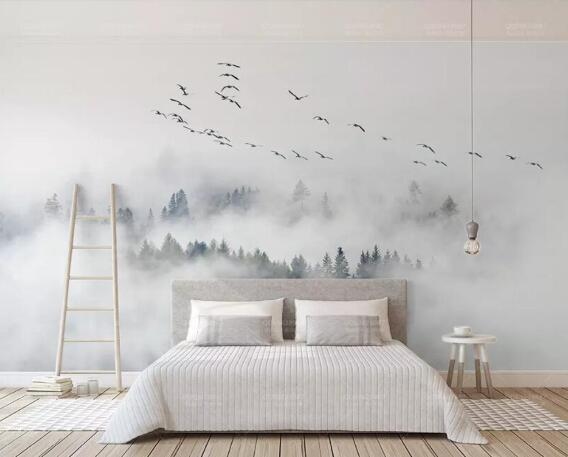 Custom Wallpaper Photo Wall Mural Wallpaper Of Bird Pine Forest Clouds Wall Papel De Parede 3d Wallpaper Papier Peint