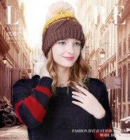 Korean Lady Knitted Hat Sleeve Head Warm Winter Wool Hat Hair Ball Hat Helmet Warm Tide