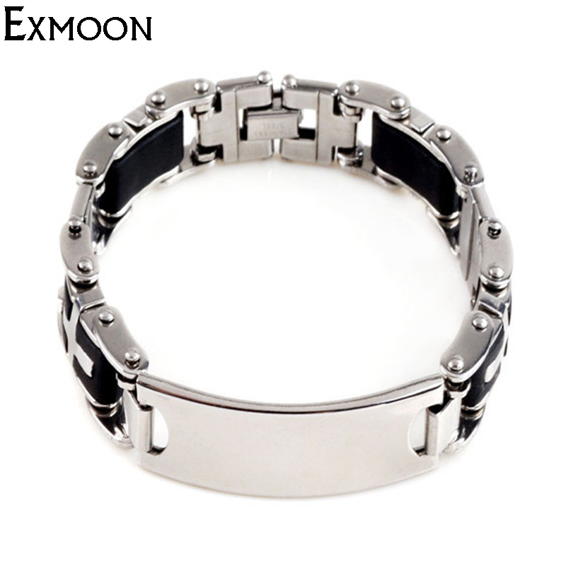 EX-MOON New Brand Mens Silicone Metal Bracelets&Bangles Jewelry Classic Trendy Stainless Steel Bracelets Pulseras Free Shipping