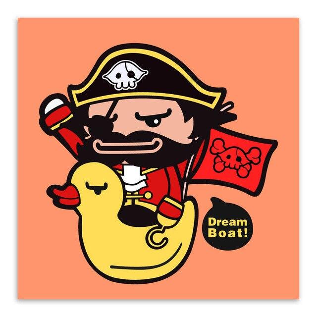 Couleur Kawaii Dessin Anime Pirate Jaune Canard Bateau Affiches Imprime Enfants Bebe Chambre Mur Art Photos Decor A La Maison Toile Peintures Aliexpress
