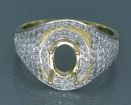 Bague ovale solide 14 k 6x8mm solide 14kt or jaune 0.76ct diamant demi montage bague de fiançailles à vendre
