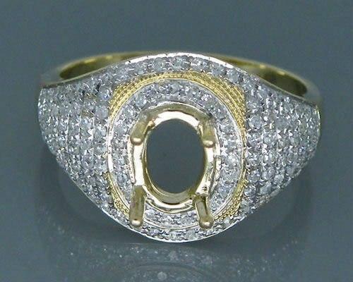 Sólido 14 k Montagens Anel Oval 6x8mm Sólidos 14kt Ouro Amarelo 0.76ct Diamante Semi Monte Anel de Noivado configurações Para Venda