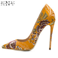 Luxury Woman Silver Embroider Pumps Stiletto Plus Size 33 45 Wedding High Heels Shoes Party Sexy Silk Blue Valentine Shoes Women