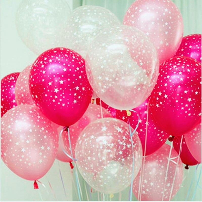 50p / lot розово розово ясно пет звезди отпечатани перла латекс хелий балон 12 инч 3.2 g сватба рожден ден парти декоративни детски играчки