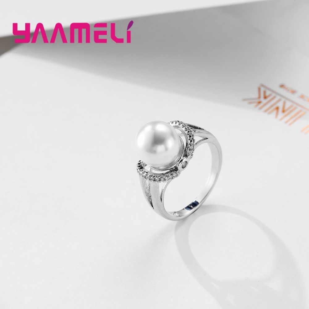 Созданное жемчужное обручальное кольцо для женщин, ювелирное изделие с кубическим цирконием AAA 925, серебряные женские кольца для помолвки Anel