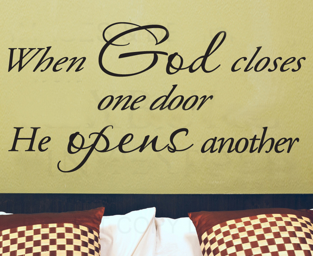 God Closes One Door Opens Another Religious Inspiration Wall Sticker