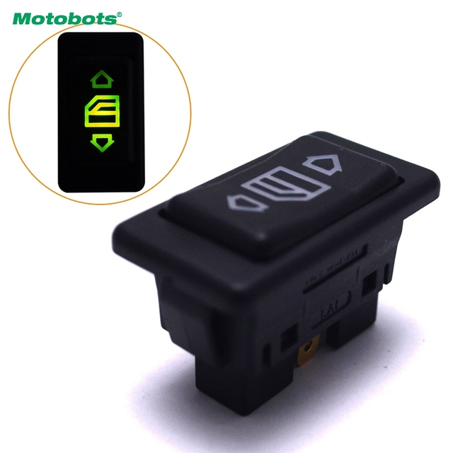 Motobots 1pc Auto Electric Window Switch On For All Autos With Green Led Light Car