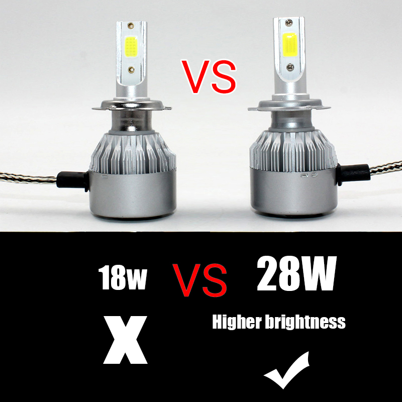 FSTUNING Car Lights Bulbs LED C6 28W H1 H3 H4 H7 H8 H9 H10 H11 H13 HB3 bright HB4 9004 9005 9006 9007 Auto Headlights Led Light in Car Headlight Bulbs LED from Automobiles Motorcycles