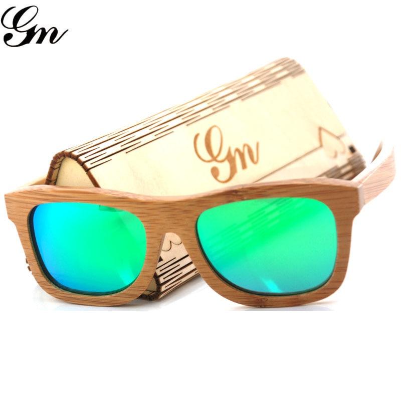 G M Vintage Bamboo Wooden Sunglasses Handmade Polarized Mirror Coating Lenses Eyewear sport glasses in Wood Box
