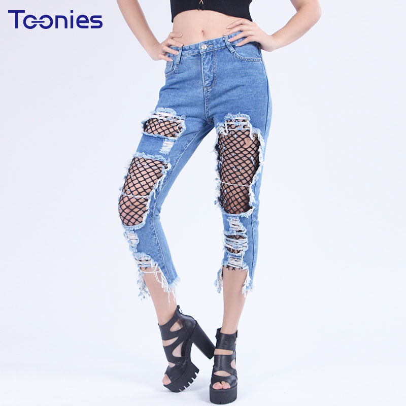 Toonies Straight Pants Denim Trouser Hole Mesh Nets Patchwork Street Summer New Slim Women Sexy Pants All-match Punk Style Jeans  2017solid black fashion women pants autumn rocker punk sexy style leggings street metallic femme casual slim pants