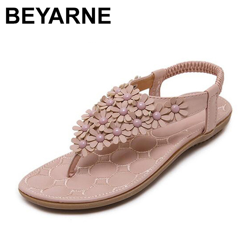 BEYARNE  Summer Bohemia Style Ladies Sandals Flip Flops Women Shoes Small Flowers Big Size Beach Shoes Woman Pink/Grey 2017 summer fashionwomen sandals summer new vintage style gladiator platform wedges shoes woman beach flip flops bohemia sandal