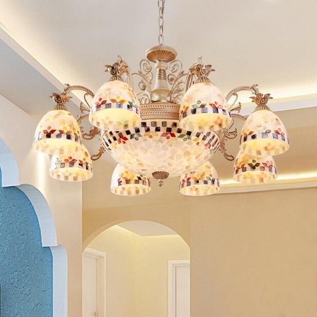 Estilo Europeo Tiffany chandelier Mediterráneo colgante Lámparas comedor para el hogar interior Iluminación accesorio