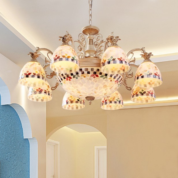 European Style Tiffany Chandelier Mediterranean Sea Pendant Lamps Dining Room For Home Indoor Lighting Fixture