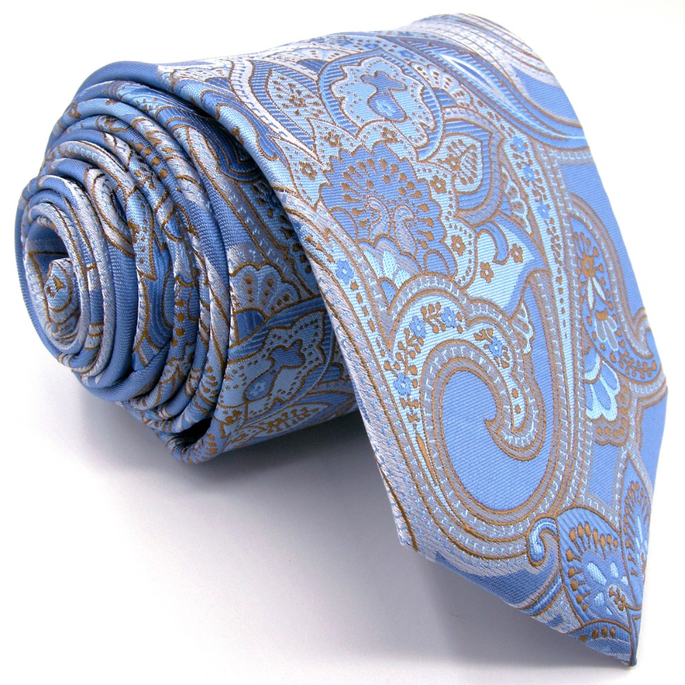 A9 Light Blue Floral Silk Jacquard Woven Classic Fashion Mens Accessories Ties Necktie extra long size Hanky
