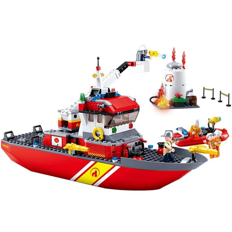 429pcs Children s building blocks toy Compatible city Fire series fire boat DIY figures Bricks birthday