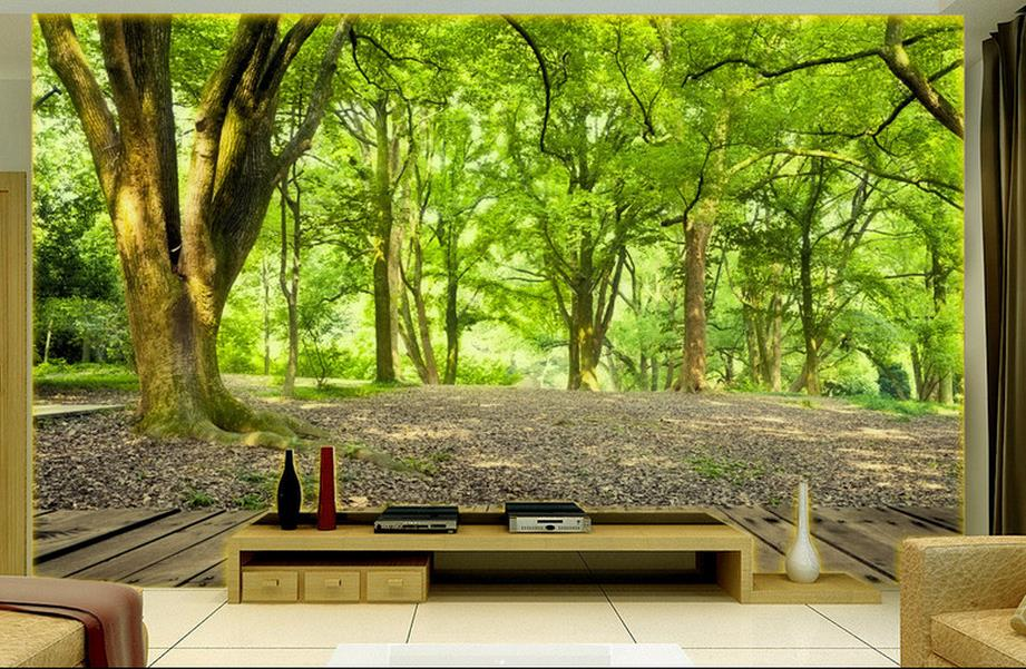 Custom 3d photo wall mural landscape green forest tv for 3d nature wallpaper for wall