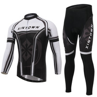 XINTOWN Winter Cycling Jersey Pants Set Ropa Ciclismo MTB Thermal Fleece Windproof Cycling Wear Bike Clothing