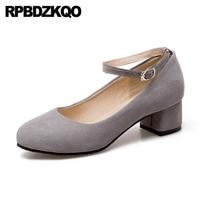 Chunky Ankle Strap 10 42 Crossdresser Cheap Retro Plus Size 11 43 33 Suede Elegant Women Shoes Round Toe Gray 2018 Medium Heels