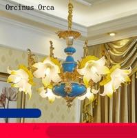 High end custom Europäischen luxus blaue blume keramik kronleuchter wohnzimmer esszimmer schlafzimmer Französisch Farbe Kristall Kronleuchter-in Pendelleuchten aus Licht & Beleuchtung bei