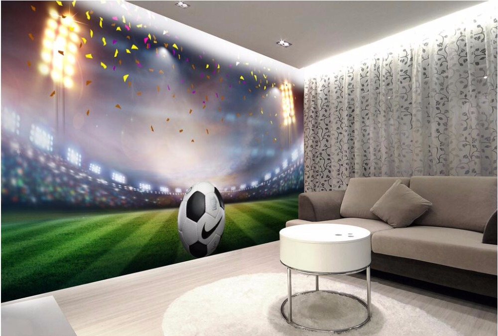 Custom photo 3d room wallpaper football field background for Wallpaper images for house walls