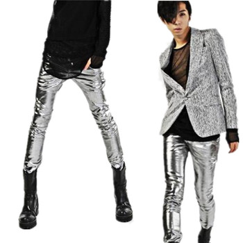 2016 Punk tight male personality patchwork  slim  club leather trousers