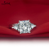 Luxury Ring For Women Rings Gold Plated 18k Fashion Jewelry Big Rings Emerald Cut Three Stone